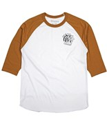 BRIXTON triko Deacon 3/4 Sleeve White/Burnt Orange